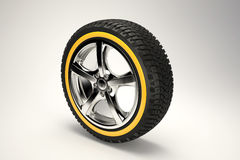 3d render of car wheel. 3d image of Chromed car wheel on the gradient background. High quality 3d render Stock Images