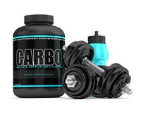 3d render of carbo powder jar with dumbbells and shaker Stock Photos