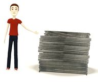 Cartoon boy with construction material Stock Photo