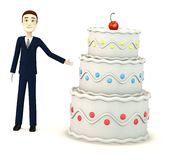 Cartoon businesman with cake Stock Images