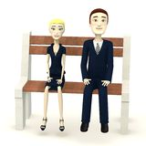 Cartoon business people on bench Stock Image