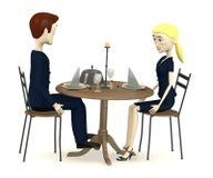 Cartoon business people sits on restaurant Stock Photo