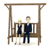 Cartoon business people on swing Royalty Free Stock Image