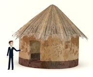 Cartoon businessman with african house Stock Image