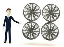 Cartoon businessman with big fan Stock Photos