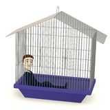 Cartoon businessman in cage Stock Photos