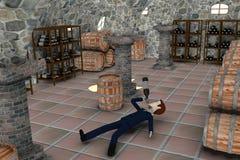 Cartoon businessman drunk in cellar Stock Image