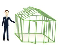 Cartoon businessman with empty greenhouse Royalty Free Stock Images