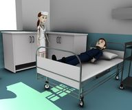 Cartoon businessman in hospital Royalty Free Stock Photos