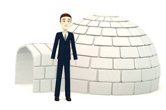 Cartoon businessman with an igloo Stock Photo