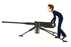 Cartoon businessman with machine gun Royalty Free Stock Photos
