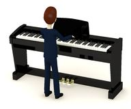 Cartoon businessman playing on digital piano Stock Image