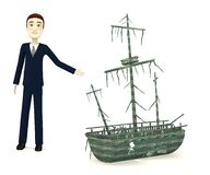 Cartoon businessman with shipwreck Stock Image