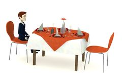Cartoon businessman sits on restaurant alone Stock Images