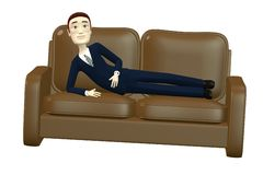 Cartoon businessman on sofa Royalty Free Stock Images