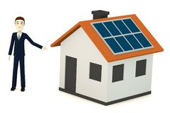 Cartoon businessman with solar house. 3d render of cartoon businessman with solar house Royalty Free Stock Photo