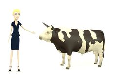 Cartoon businesswoman with bull Stock Photography