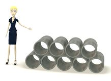 Cartoon businesswoman with construction material Royalty Free Stock Photos