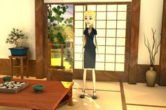 Cartoon businesswoman in japanese interior Royalty Free Stock Image