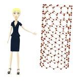 Cartoon businesswoman with nanotube Stock Photos