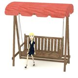 Cartoon businesswoman on swing Royalty Free Stock Images
