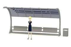 Cartoon businesswoman waiting on bus stop Royalty Free Stock Images