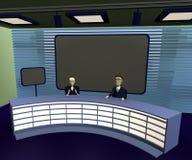Cartoon characters in suits in tv studio Stock Image