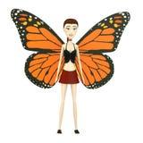 Cartoon girl as butterfly Stock Photo