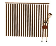 Cartoon girl behind curtain Royalty Free Stock Image