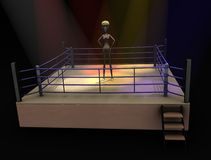 Cartoon girl - box (fight) Stock Image