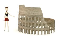 Cartoon girl with colosseum Stock Photography