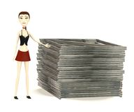 Cartoon girl with construction material Stock Photos