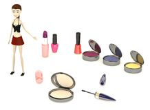 Cartoon girl with cosmetics Royalty Free Stock Photography
