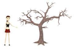 Cartoon girl with dead tree Stock Photo