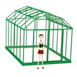 Cartoon girl with greenhouse Stock Photography