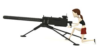 Cartoon girl with gun Royalty Free Stock Image