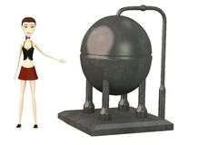 Cartoon girl with industrial element Stock Photo