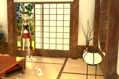 Cartoon girl in japanese interior Royalty Free Stock Photos