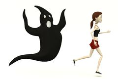 Cartoon girl running from ghost Stock Photo