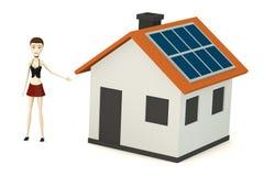 Cartoon girl with solar house Royalty Free Stock Image