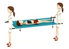 Cartoon girl on stretcher Stock Image