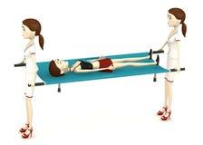 Cartoon girl on stretcher Stock Image