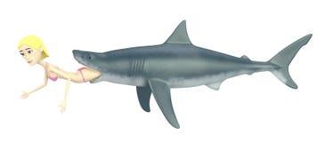 Cartoon girl in swimsuit with shark Stock Photo