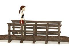 Cartoon girl walking on bridge Stock Photography