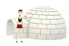 Cartoon girl withan igloo Stock Photos