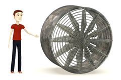 Cartoon man with big fan Royalty Free Stock Photo