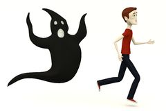 Cartoon man with ghost Stock Photography