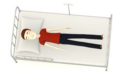 Cartoon man on hospital bed Stock Photo