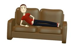 Cartoon man on sofa Stock Photos