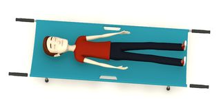 Cartoon man on stretcher Stock Photography